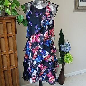 S.L. Fashions floral tiered dress Sz. 6